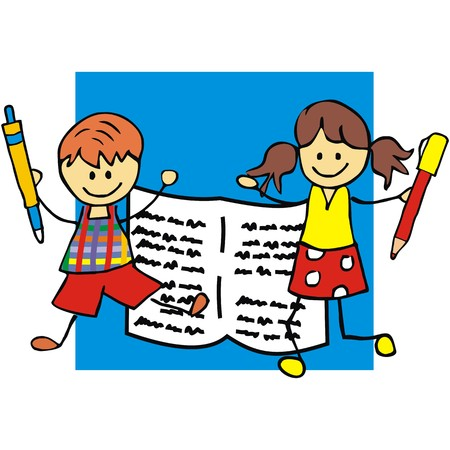 gambol: Kids and pencil, vector icon. Boy and girl holds pen.