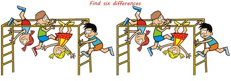 monkey gym, game, find the six differences Illustration