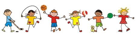 children and sport, vector icon Illustration