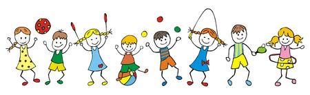 一緒に遊んで幸せな子供のイラスト。