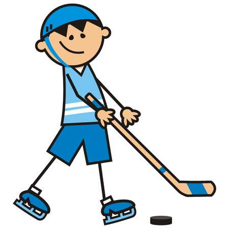 stage coach: hockey player, vector icon