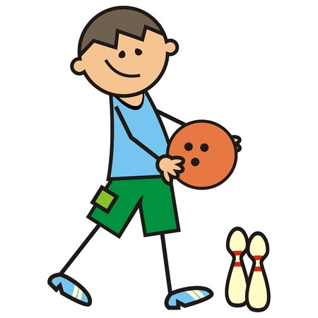 bowling, bowling bal and boy, vector icon