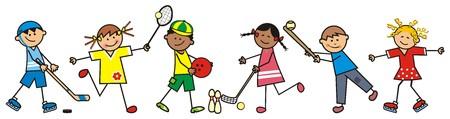 Children and sports discipline, vector icon