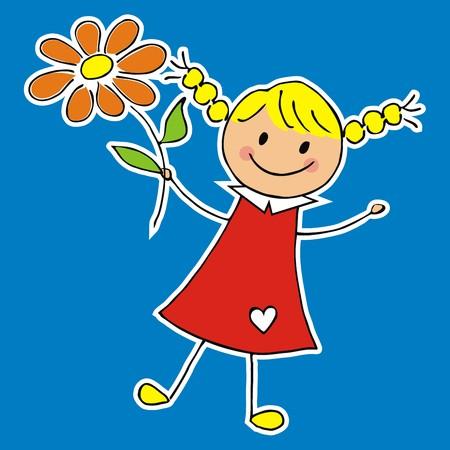 Girl and flower, vector illustration