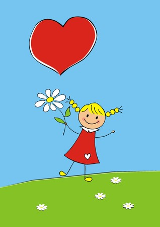 Girl with flower and heart Illustration