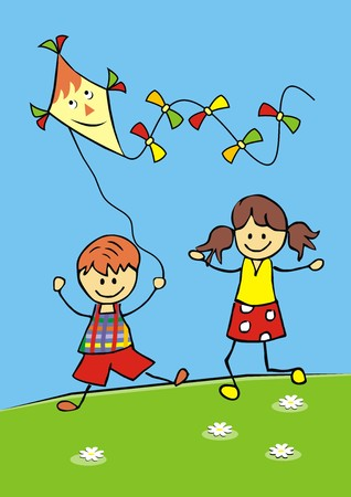 wench: Children and kite vector icon