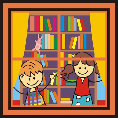 wench: Children in the library. Window, children and bookshelf. Vector image. Illustration
