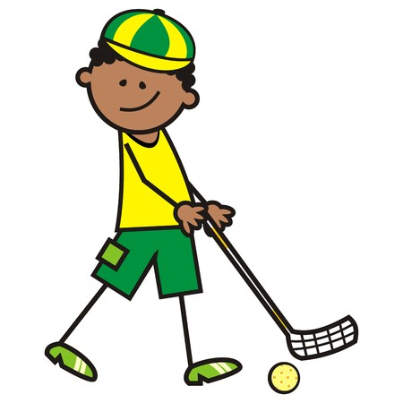 stage coach: boy and floorball, vector illustration