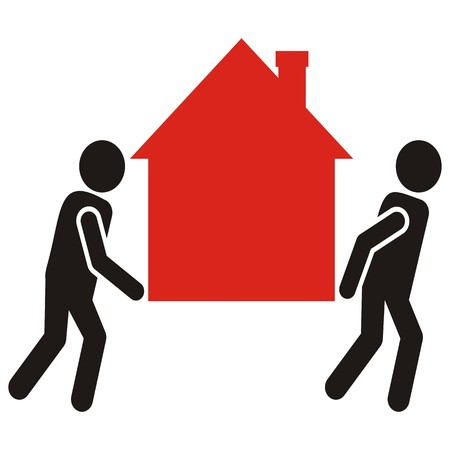 figure and house, movers Illustration