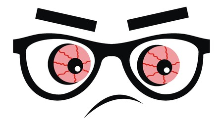 Red eyeballs, vector icon, funny cartoon Illustration
