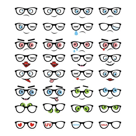 glasses, set, emotion, vector icon Illustration