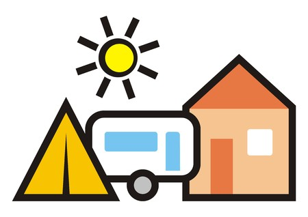 camping, cabin, trailer and tent, vector icon