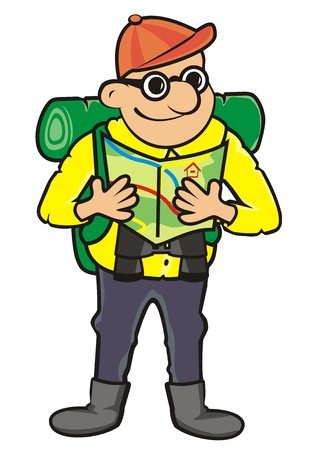 sleeping bags: Tourist and tourist guide. Vector icon. Man with rucksack, binoculars and maps.