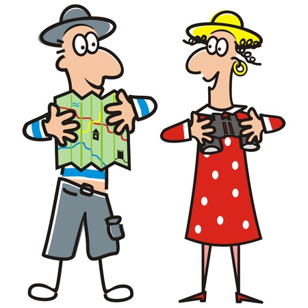 short trip: man and lady, tourist, vector illustration