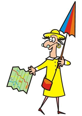 Lady, guide, funny vector illustration Illustration