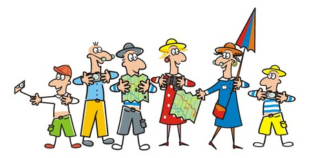 White Illustration of group of tourist, guide.