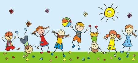 happy children in a meadow, vector illustration
