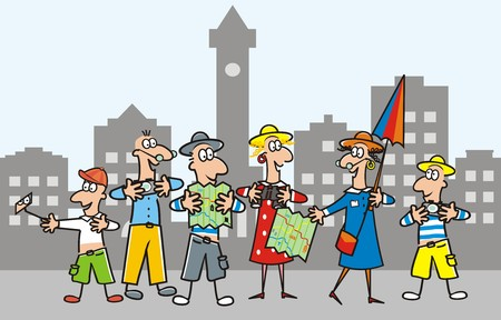 The woman - guide - accompanies a group of hikers that city. Vector illustration.