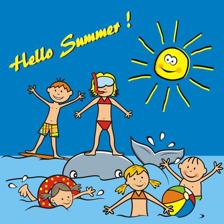 Hello Summer, postcard. Children on the beach, water sports. Boys and girls playing in the sea. Funny vector illustration.