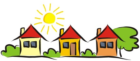 Group of houses. Landscape with houses and bushes and trees. Sun on the sky. Vector illustration Ilustração