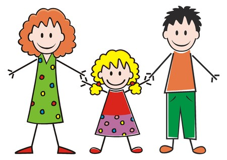 Family, mother, daughter and father. Vector icon. Funny illustration.