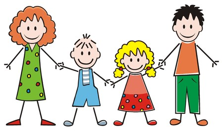 Family, parents and boy and girl, vector icon