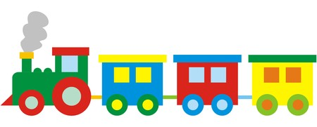 Childrens train, vector illustration, pushover