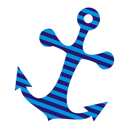 Marine anchor with stripes. Vector icon.
