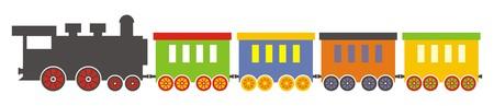 Train, steam locomotive with wagons. Vector illustration.