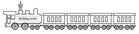 Train, steam locomotive with wagons. Vector illustration. Coloring page. Vektorové ilustrace