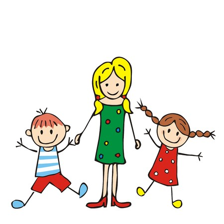 Mother and boy and girl, vector illustration