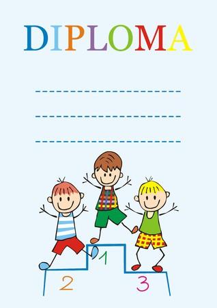 Diploma for boys, vector icon Illustration