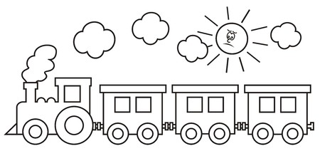 Steam locomotive with wagons. In the background the smoke and the sun. Coloring book for kids. Vector icon.
