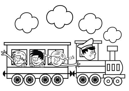 Tren, Locomotora De Vapor Con Vagones. Ilustración Vectorial Página ...