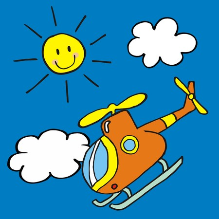 skid: Helicopter and sun, vector icon, funny illustration for children Illustration