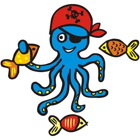 funny pictures: Funny octopus and fish, vector illustration
