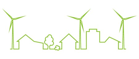 City and wind power plant, vector icon, silhouette. Illustration