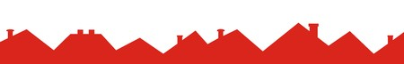 Group of roofs with smokestack, red silhouette, vector icon Illustration