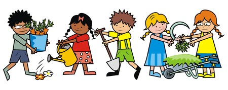 pail: Boys and girls working in the garden. Gardening tools.