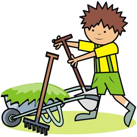 Gardening, boy and gardening tools.Vector icon.