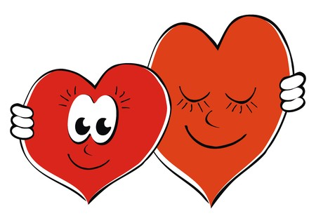 Two hearts in love. Vector icon. Funny illustration.