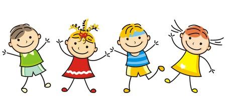 Jumping kids, vector icon, line Illustration