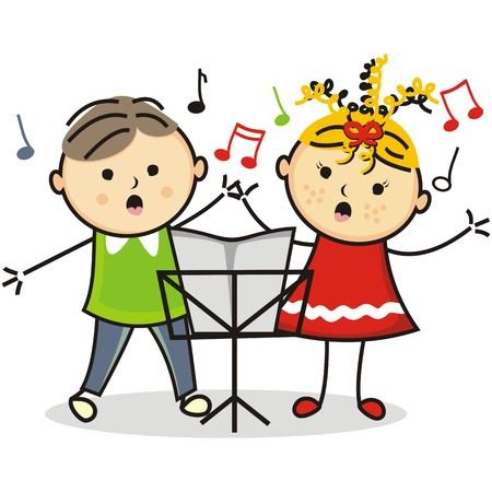 funny pictures: Singing kids and music stand, vector icon