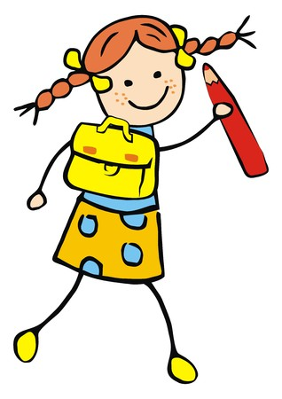 Girl and schoolbag and pencil, funny illustration, vector icon