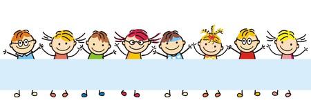 Gelukkige kinderen, plaats voor tekst. Vector icoon. Vector Illustratie