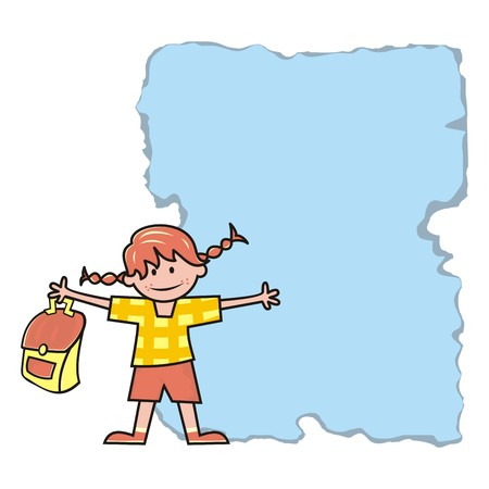 Girl and schoolbag, banner, vector icon