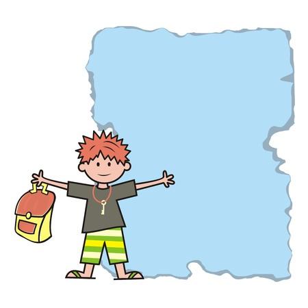 Boy and schoolbag, banner, vector icon