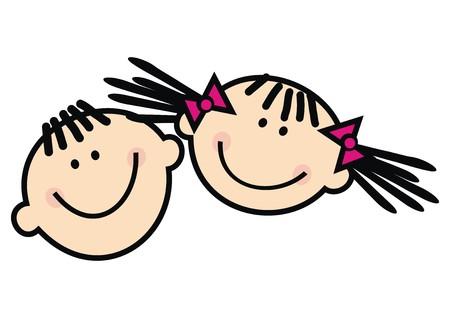 Happy kids, funny illustration, vector icon Illustration