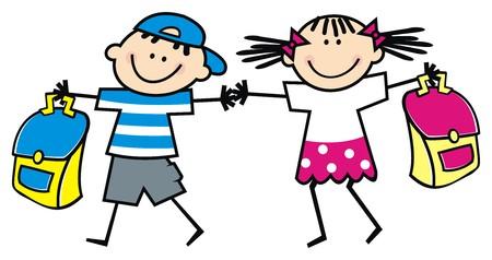Kinder und Schultasche, Vektor-Symbol Standard-Bild - 82599146