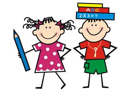 Kids and books and crayon, funny illustration, vector icon